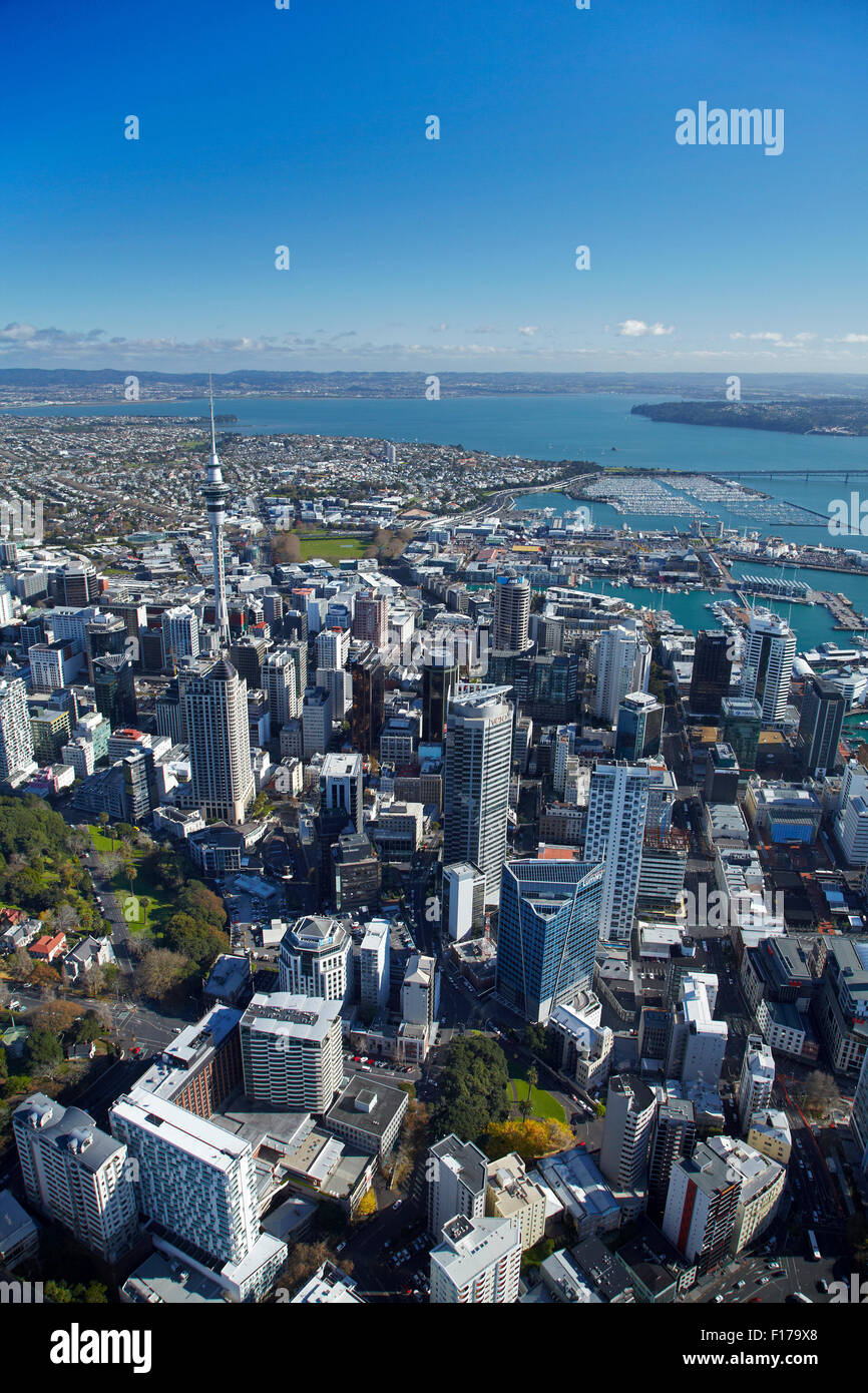CBD and Sky Tower, Auckland, North Island, New Zealand - aerial - Stock Image