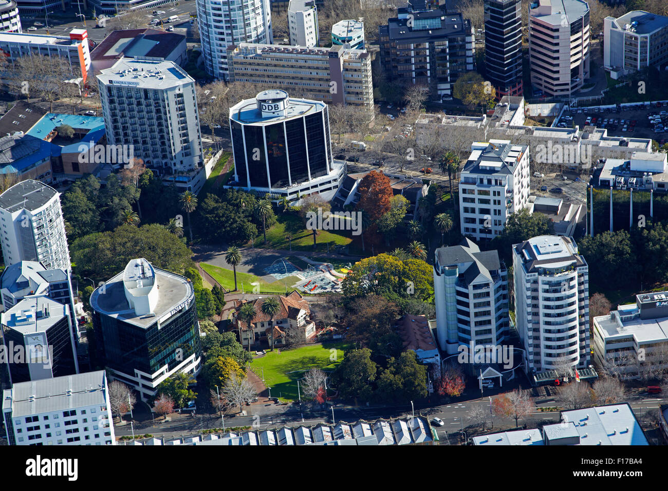 Myers Park, Auckland CBD, North Island, New Zealand - aerial - Stock Image