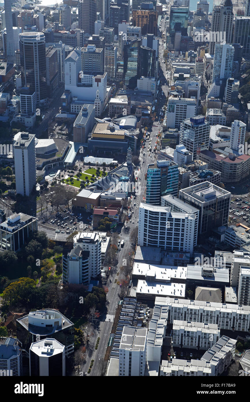 Queen Street and CBD, Auckland, North Island, New Zealand - aerial - Stock Image
