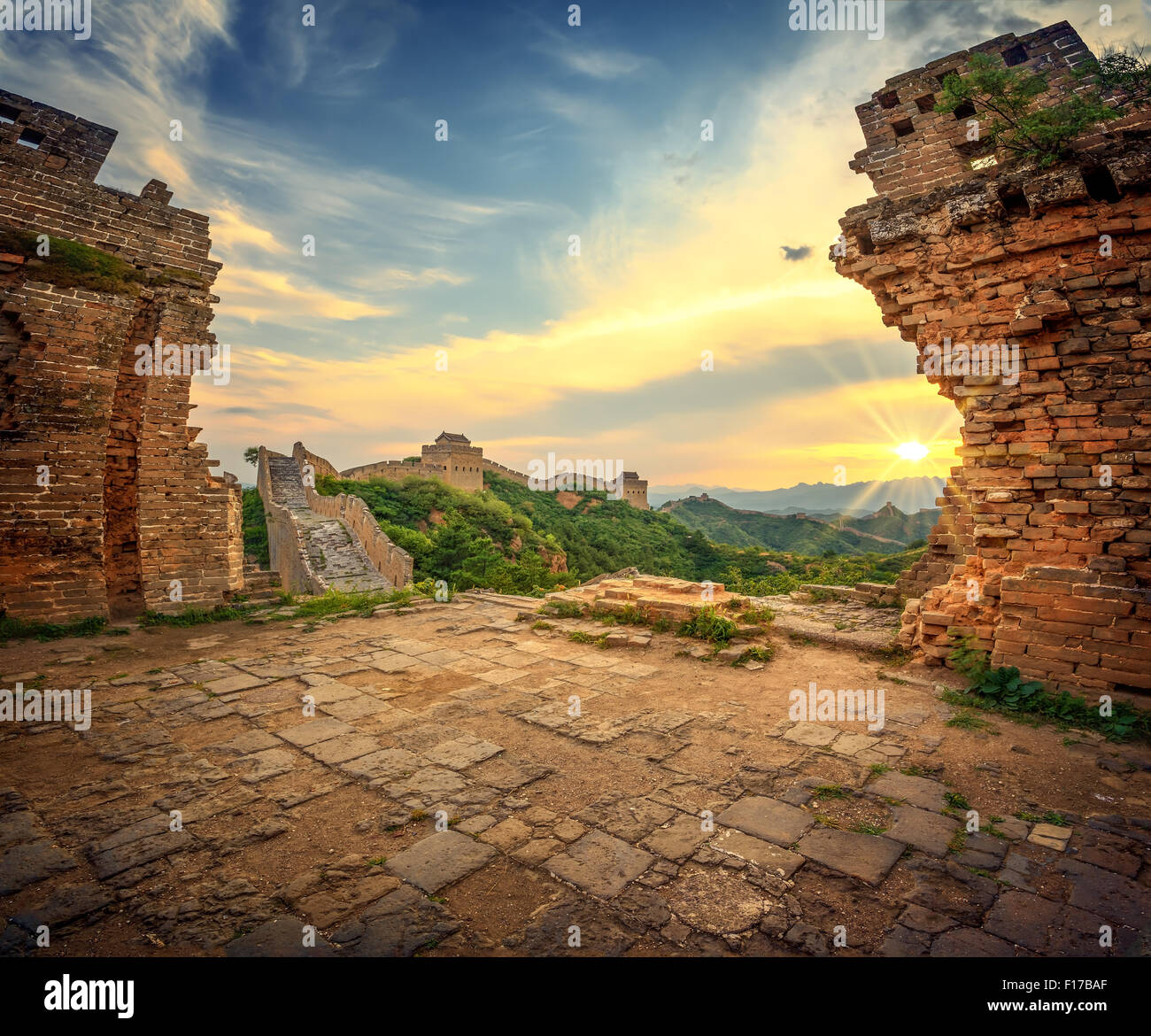 Great Wall of China at Sunrise - Stock Image