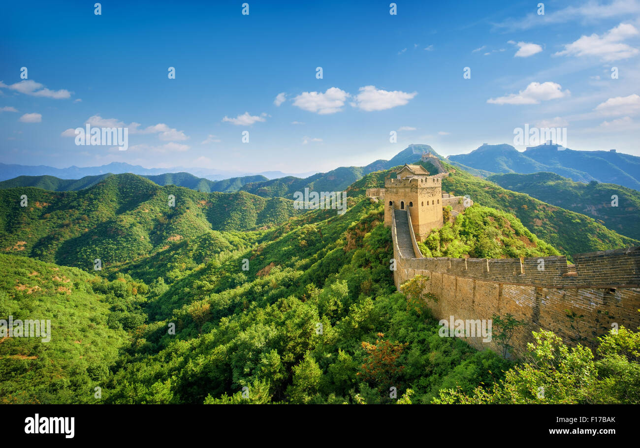 Great Wall of China at Sunny Day. - Stock Image