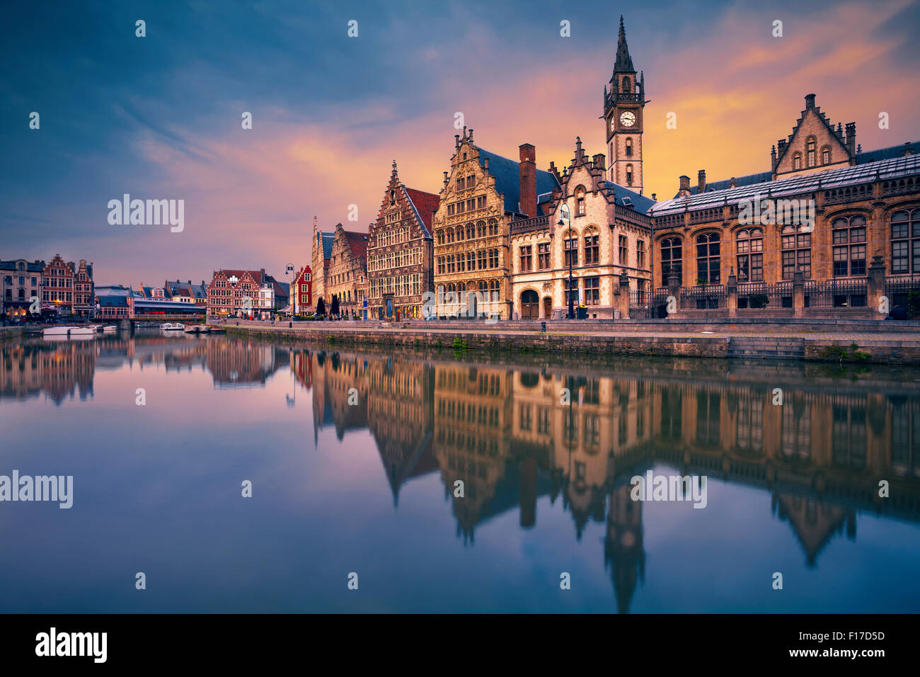 Ghent. Image of Ghent, Belgium during dramatic twilight. - Stock Image