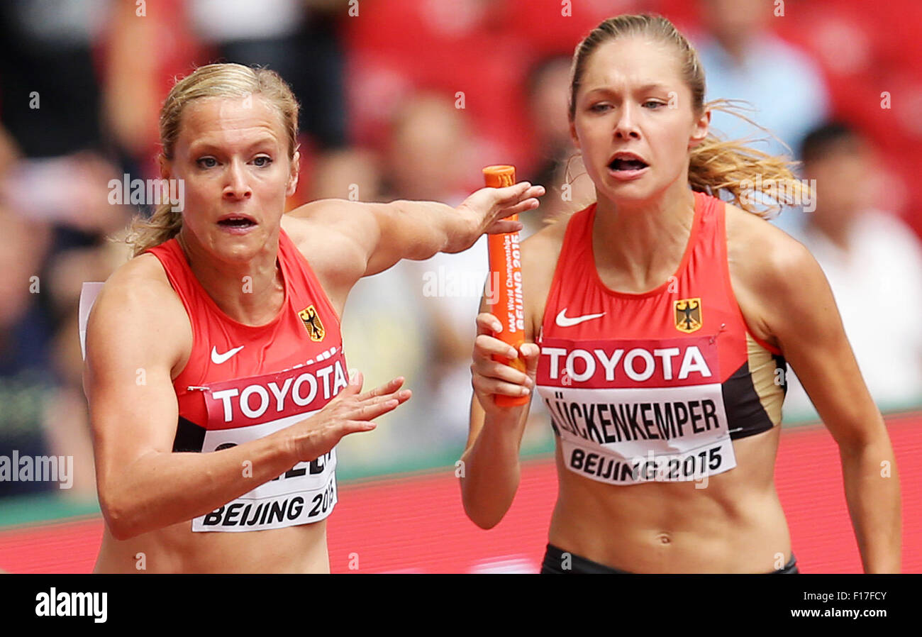 Beijing, China. 29th Aug, 2015. Germany's Verena Sailer and Gina Lückenkemper in action in the women's - Stock Image
