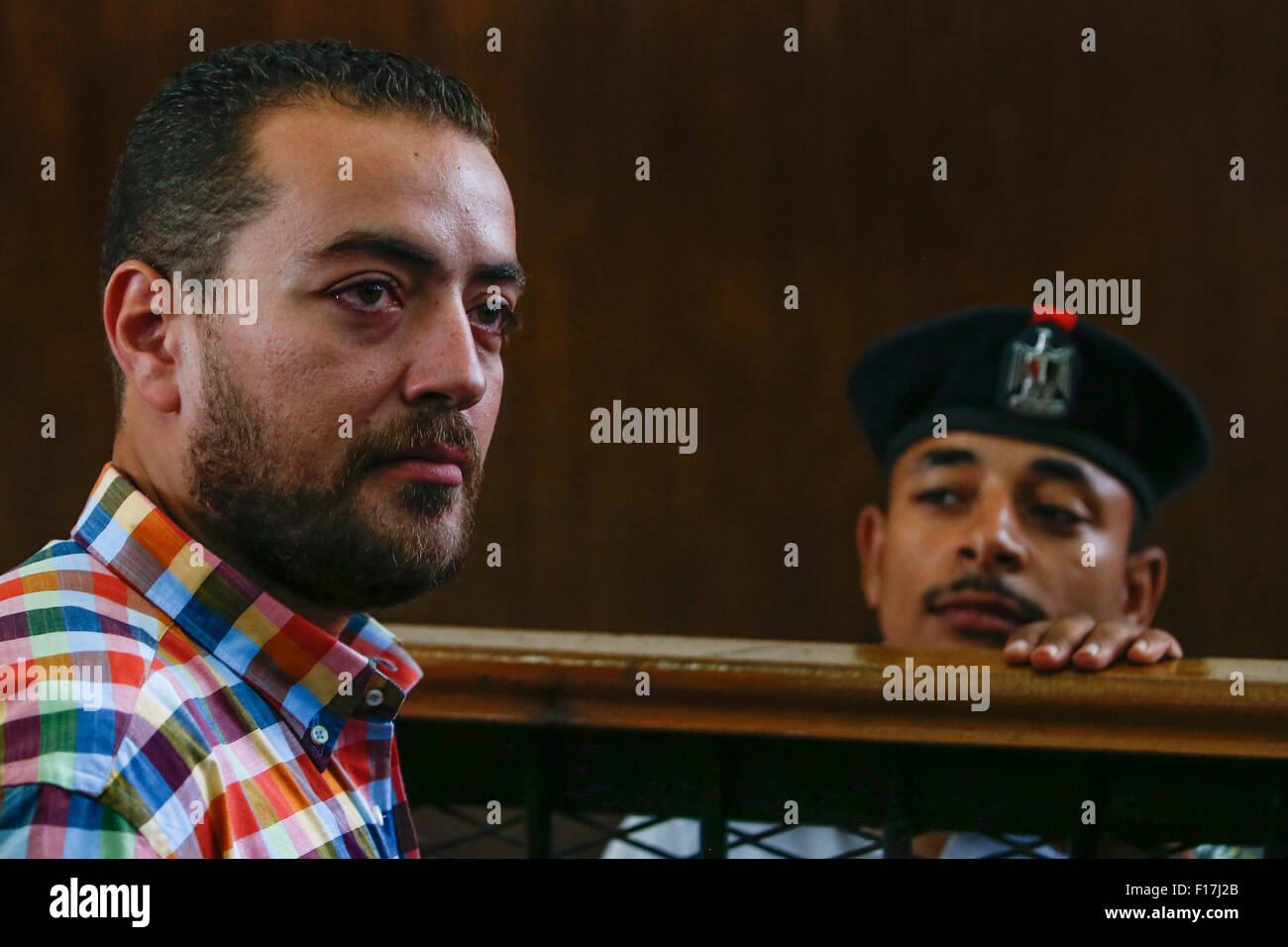 Cairo, Egypt. 29th Aug, 2015. Egyptian Al-Jazeera English journalist Baher Mohammed looks on before his verdict - Stock Image