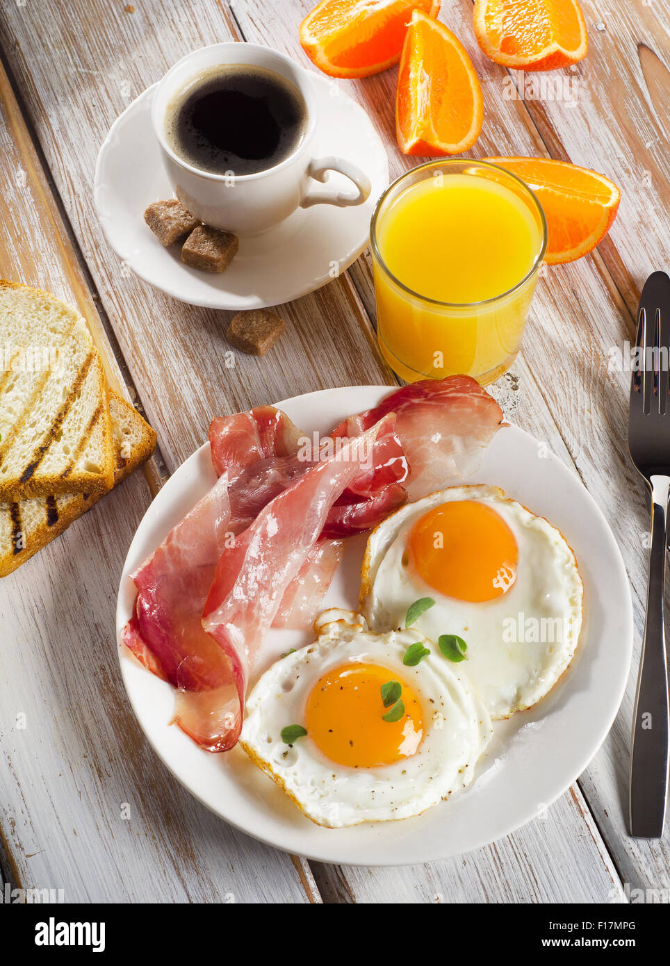 Eggs Bacon Orange Juice And Coffee For Healthy Breakfast Stock