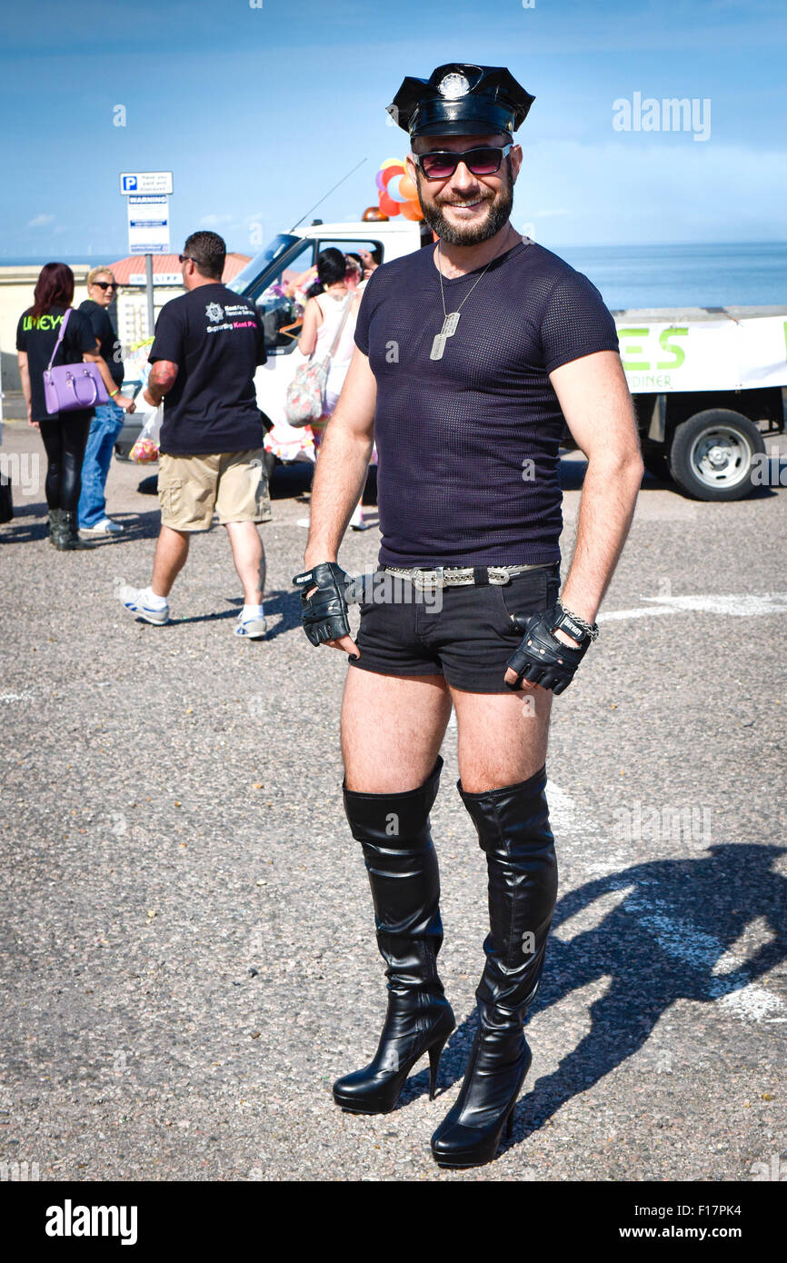 Margate, Kent, UK. 29th August, 2015. Milan, a Slovakian living in Deal wears his best kinky boots and looks forward - Stock Image