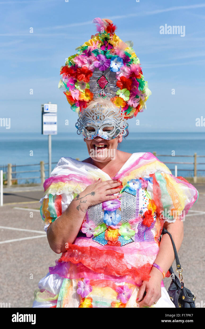 Margate, Kent, UK. 29th August, 2015. A flamboyant Tina from Canterbury dressed to impress at the Kent Pride celebrations - Stock Image