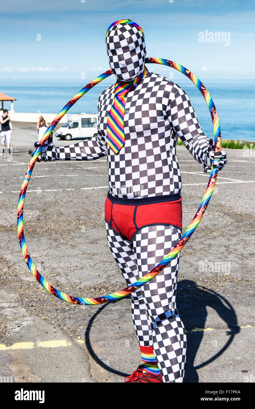 Margate, Kent, UK. 29th August, 2015. Andy from London wears a surreal costume during the Kent Pride celebrations - Stock Image