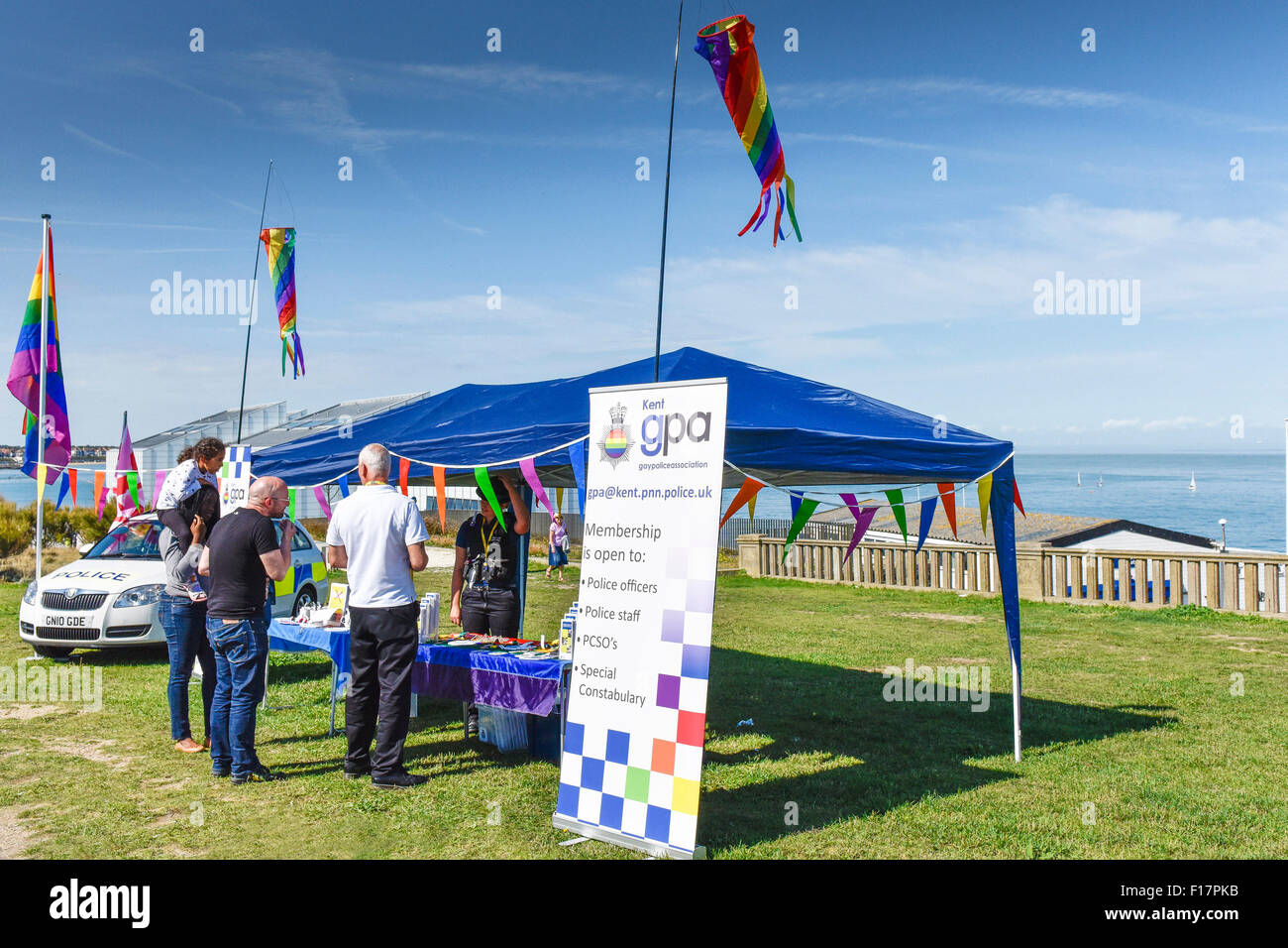 Margate, Kent, UK. 29th August, 2015. The Gay Police Association run a stall during the Kent Pride celebrations - Stock Image
