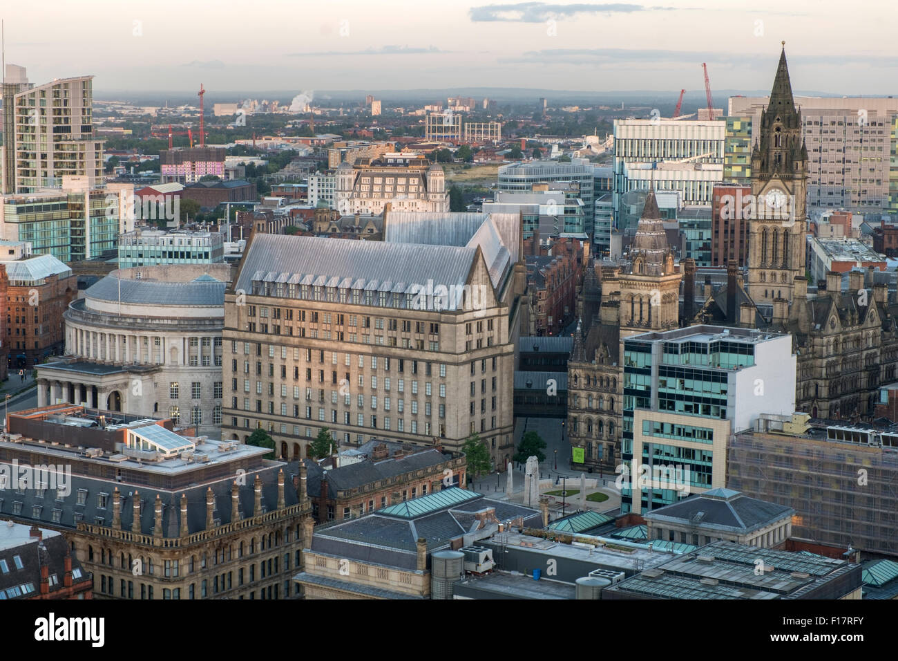 High viewpoint view over Manchester City Centre - Stock Image