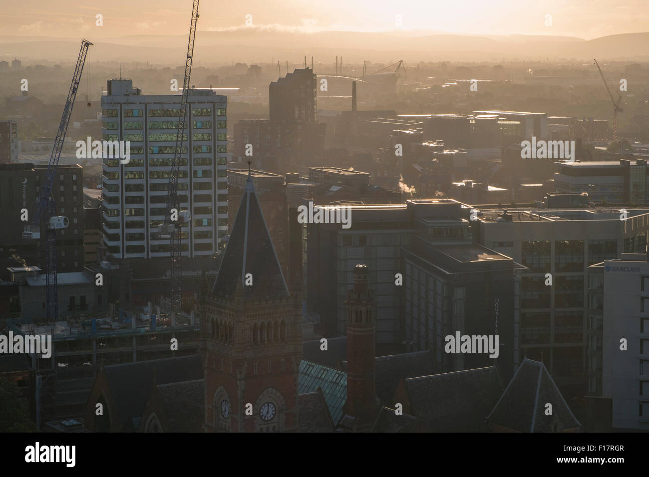 High viewpoint of Sunrise over Manchester - Stock Image