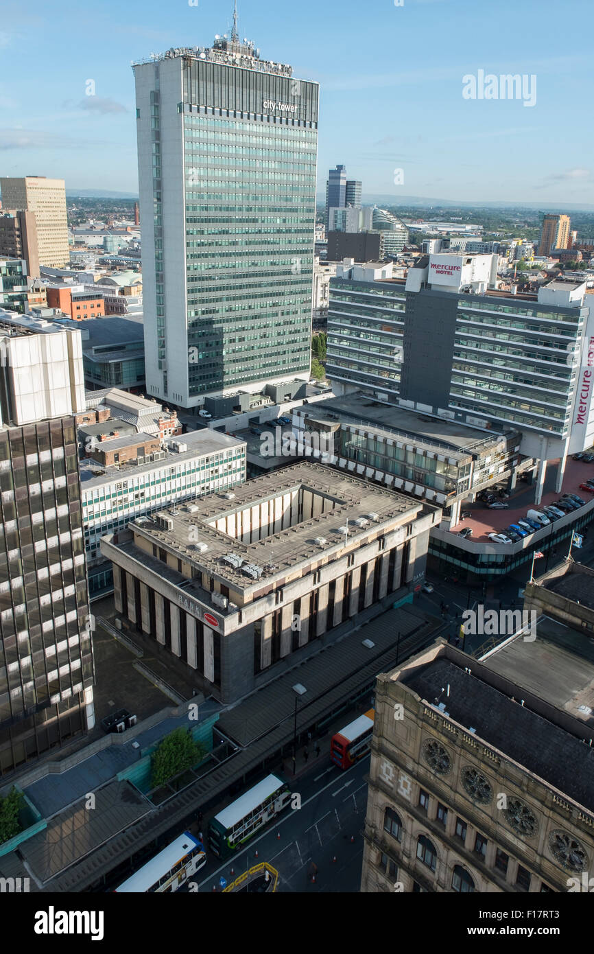 High viewpoint above Portland Street Manchester City Centre and the City Tower - Stock Image