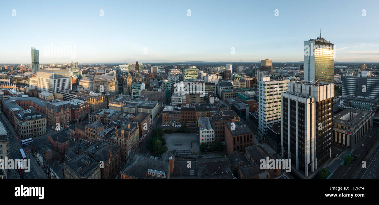 High viewpoint panoramic image of Manchester City centre Stock Photo
