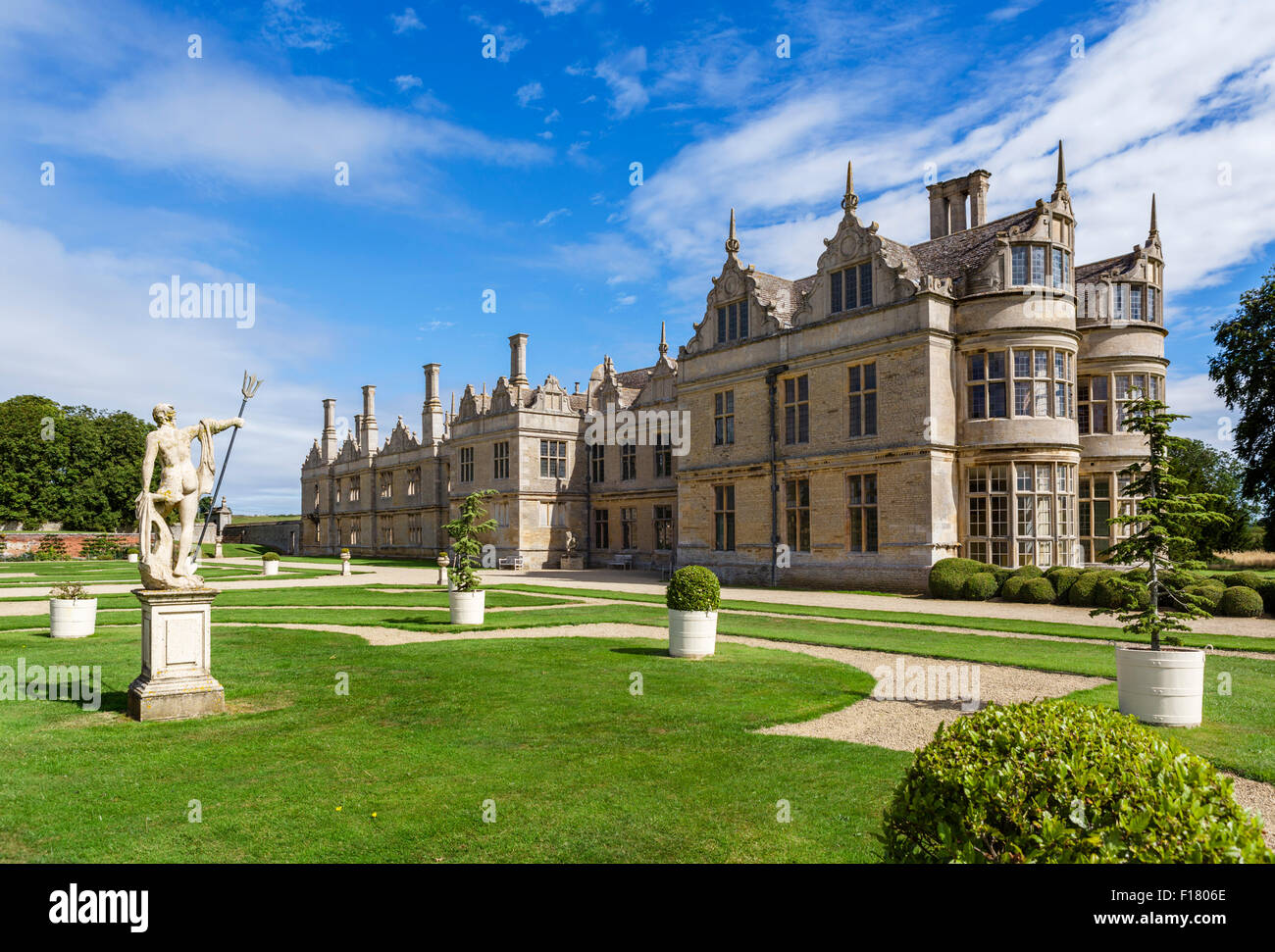 Kirby Hall, a now ruined 16thC Elizabethan country house near Gretton, Northamptonshire, England, UK - Stock Image