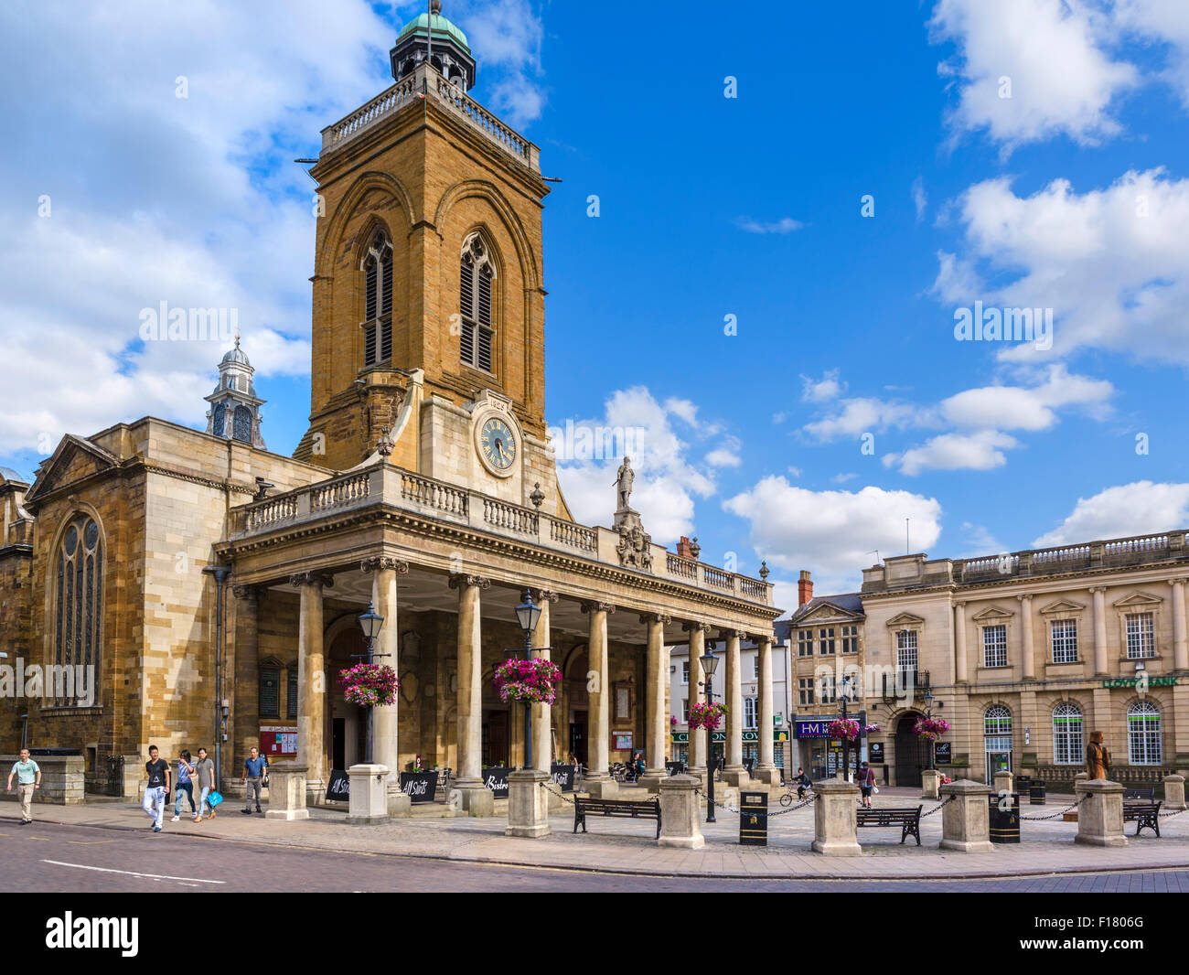 All Saints Church from Mercer Row in the town centre, Northampton, Northamptonshire, England, UK - Stock Image