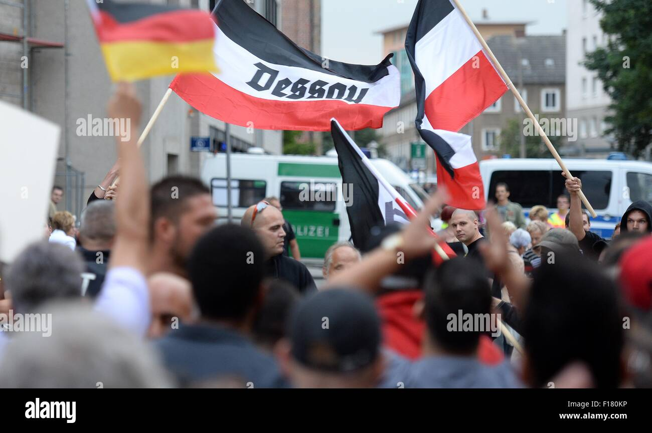 Dessau-Rosslau, Germany. 28th Aug, 2015. Right-wing extremists have gathered to rally for the 'Gida Regional' - Stock Image