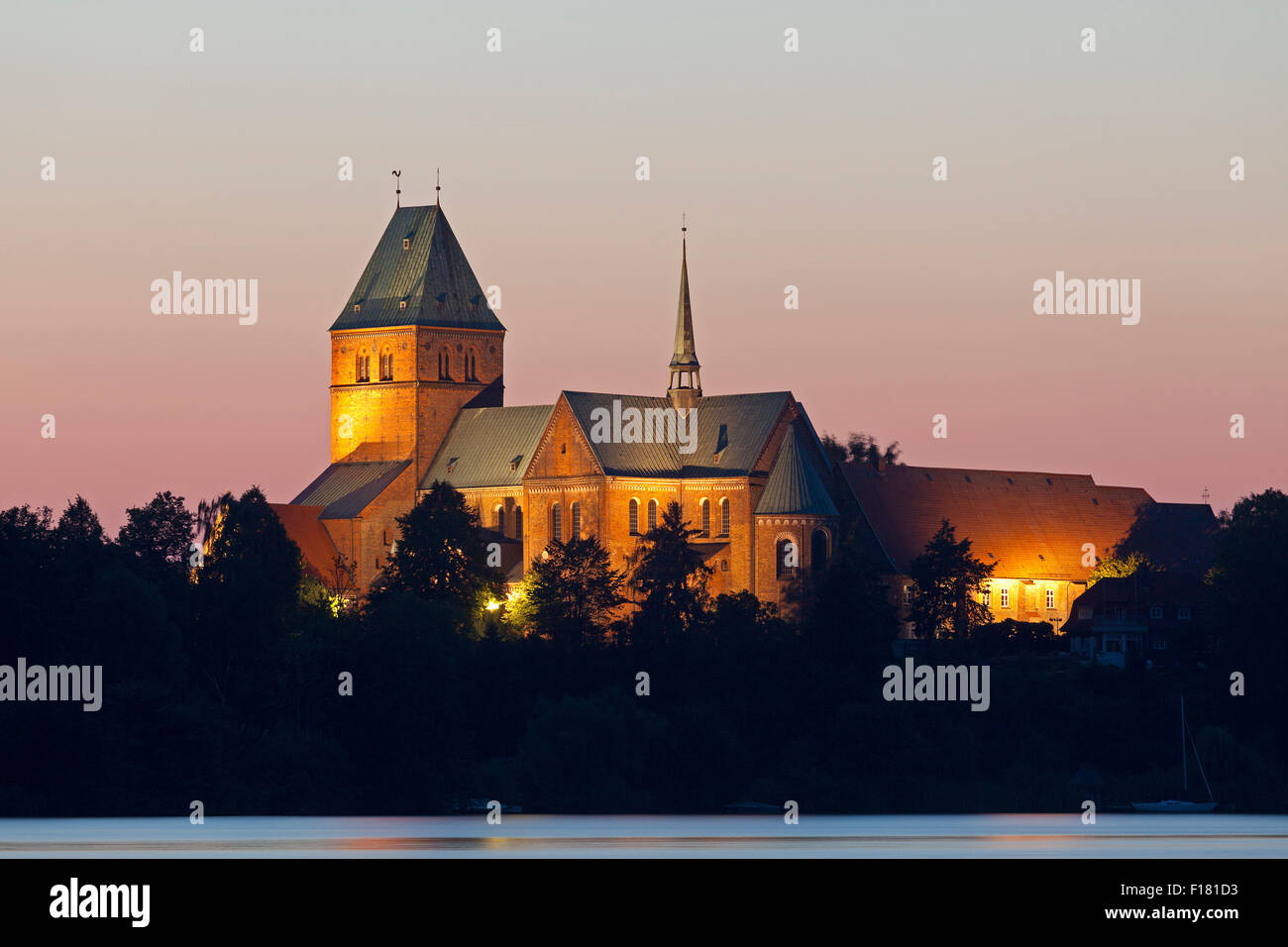illuminated cathedral Ratzeburg, Schleswig-Holstein, Germany - Stock Image