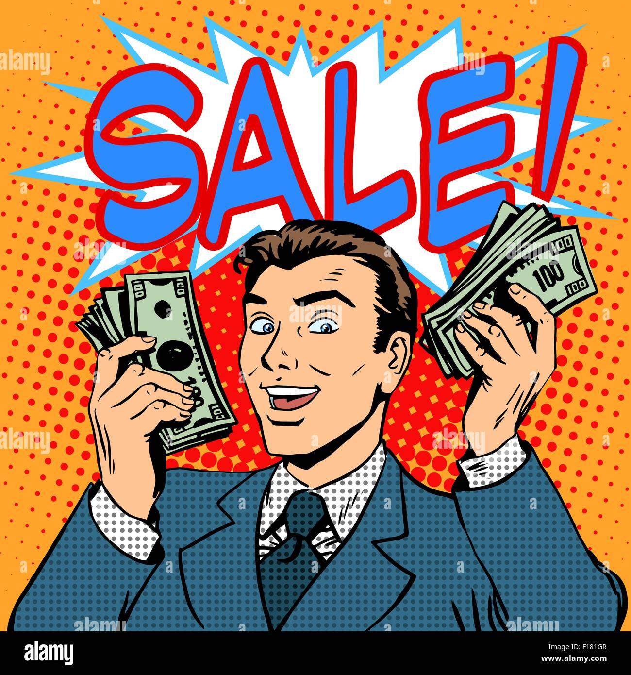 Sale announcement business concept businessman with money - Stock Vector