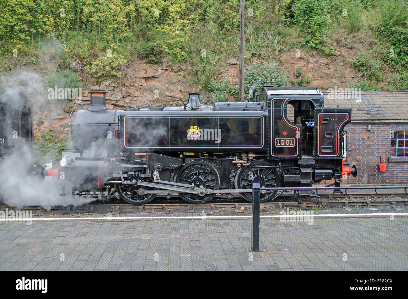 GWR 1500 class 1501 0-6-0PT at rest at Bewdley on the SVR - Stock Image