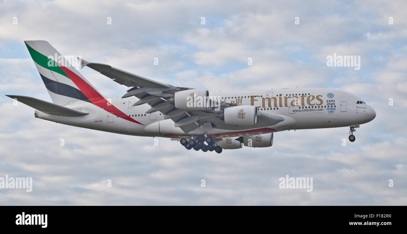 Emirates Airline Airbus a380 Super Jumbo A6-EEE coming into land at London Heathrow Airport LHR - Stock Image