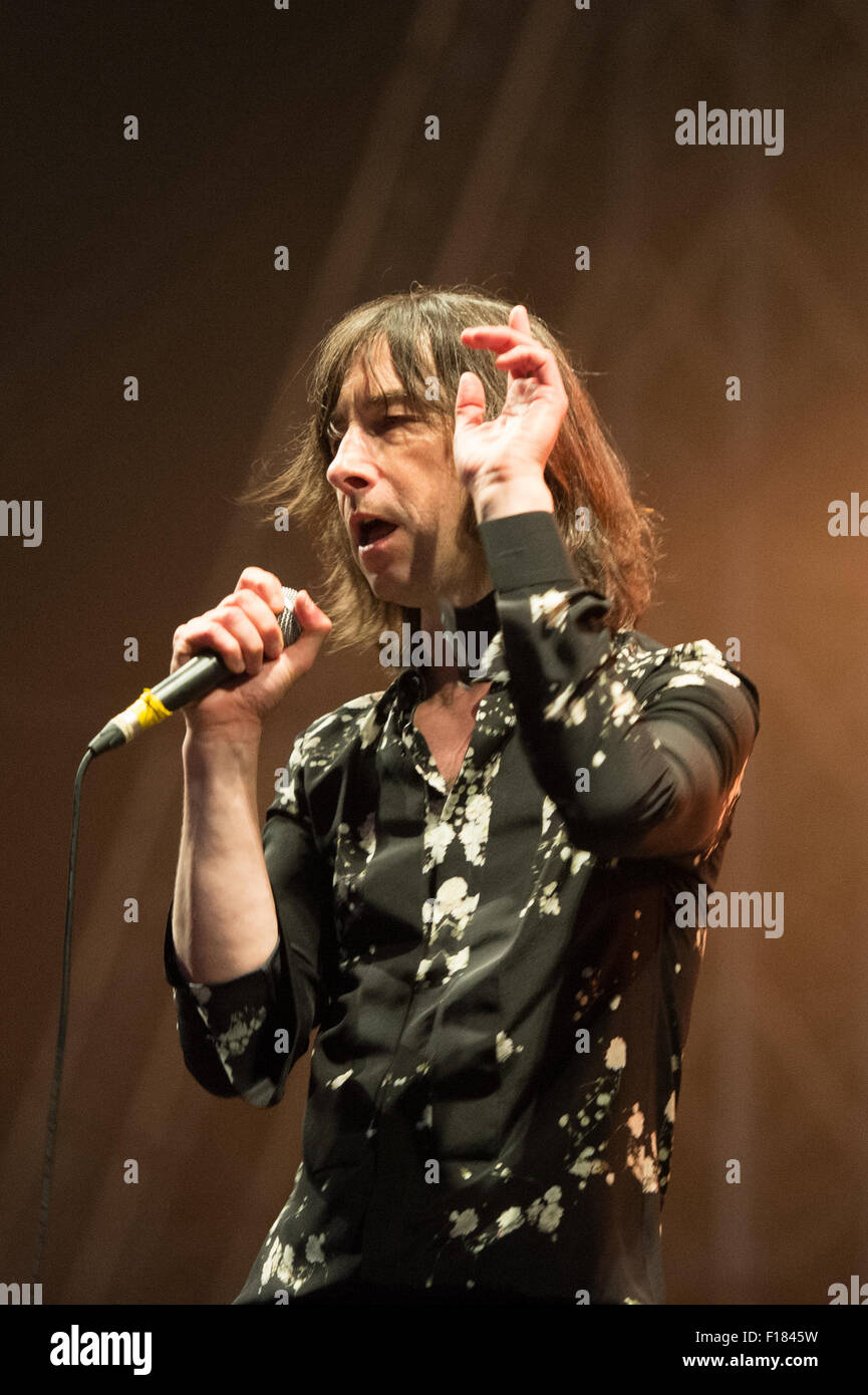 Portsmouth, UK. 29th August 2015. Victorious Festival - Saturday. Bobby Gillespie of Primal Scream during their Stock Photo