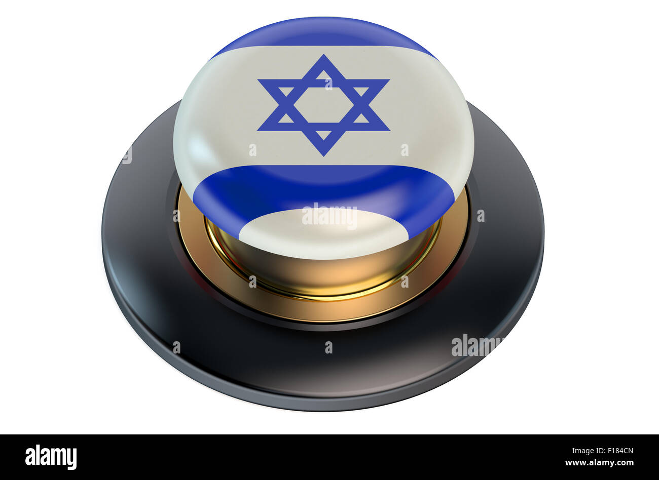 Button with Israel flag isolated on white background - Stock Image