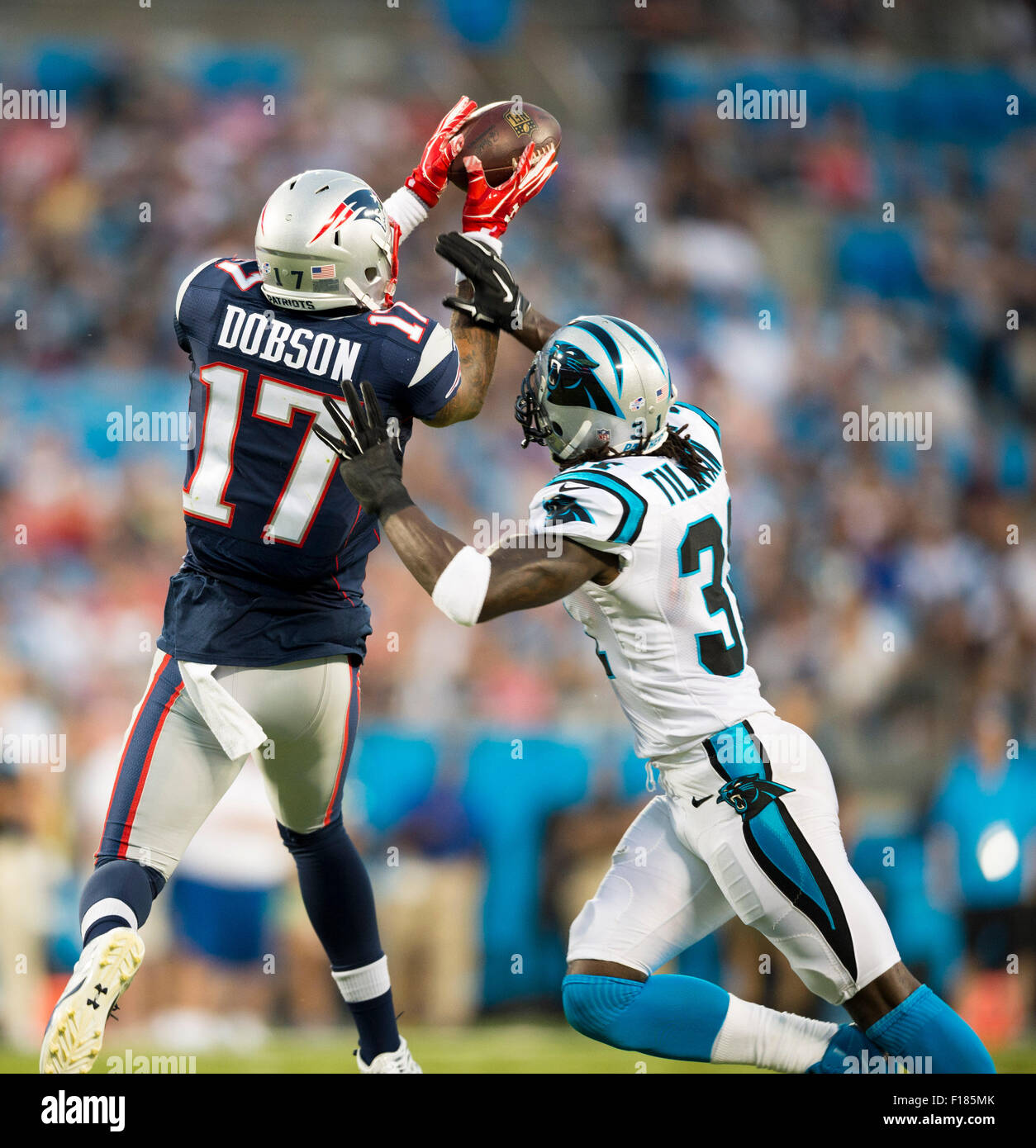abd2ce0c4a7c Carolina Panthers defensive back Charles Tillman (31) knocks the ball out  of the hands of New England Patriots wide receiver Aaron Dobson (17) during  the ...