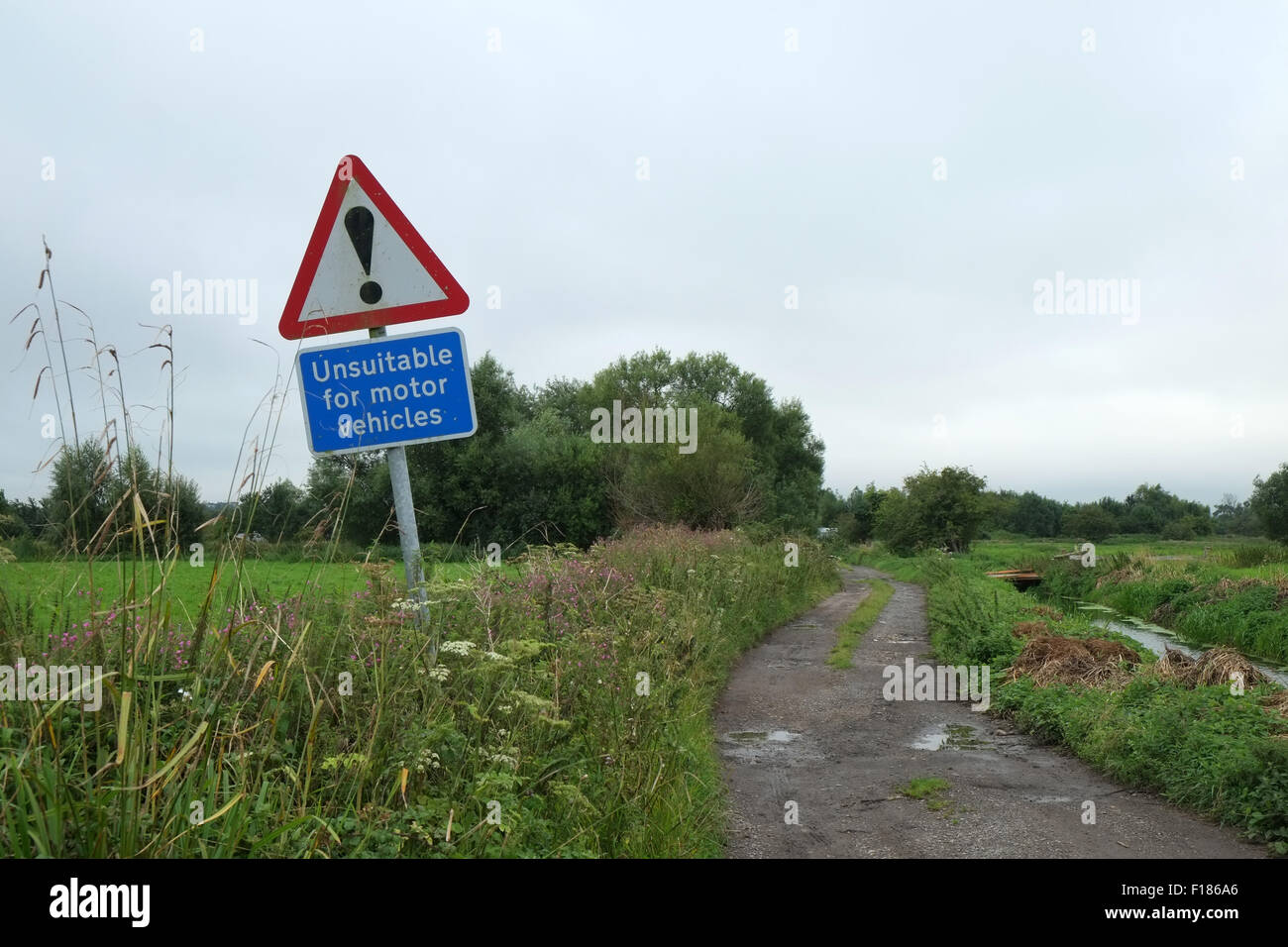 Unsuitable road sign on a rural road in Somerset, England. UK GB. August 2015 - Stock Image