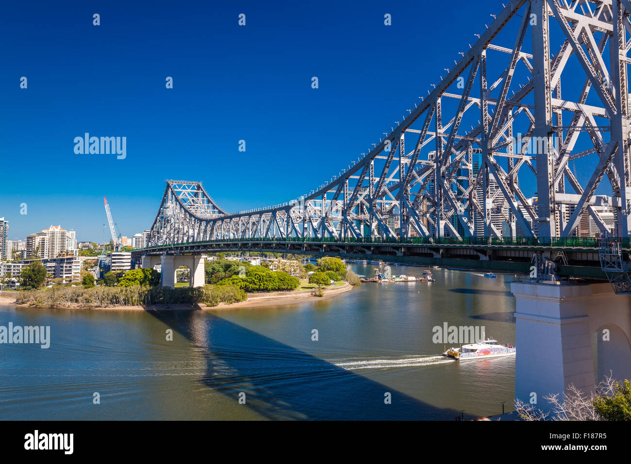 BRISBANE, AUS - MAY 12 2015: Brisbane Skyline with Story Bridge and the river. It is Australias third largest city, - Stock Image
