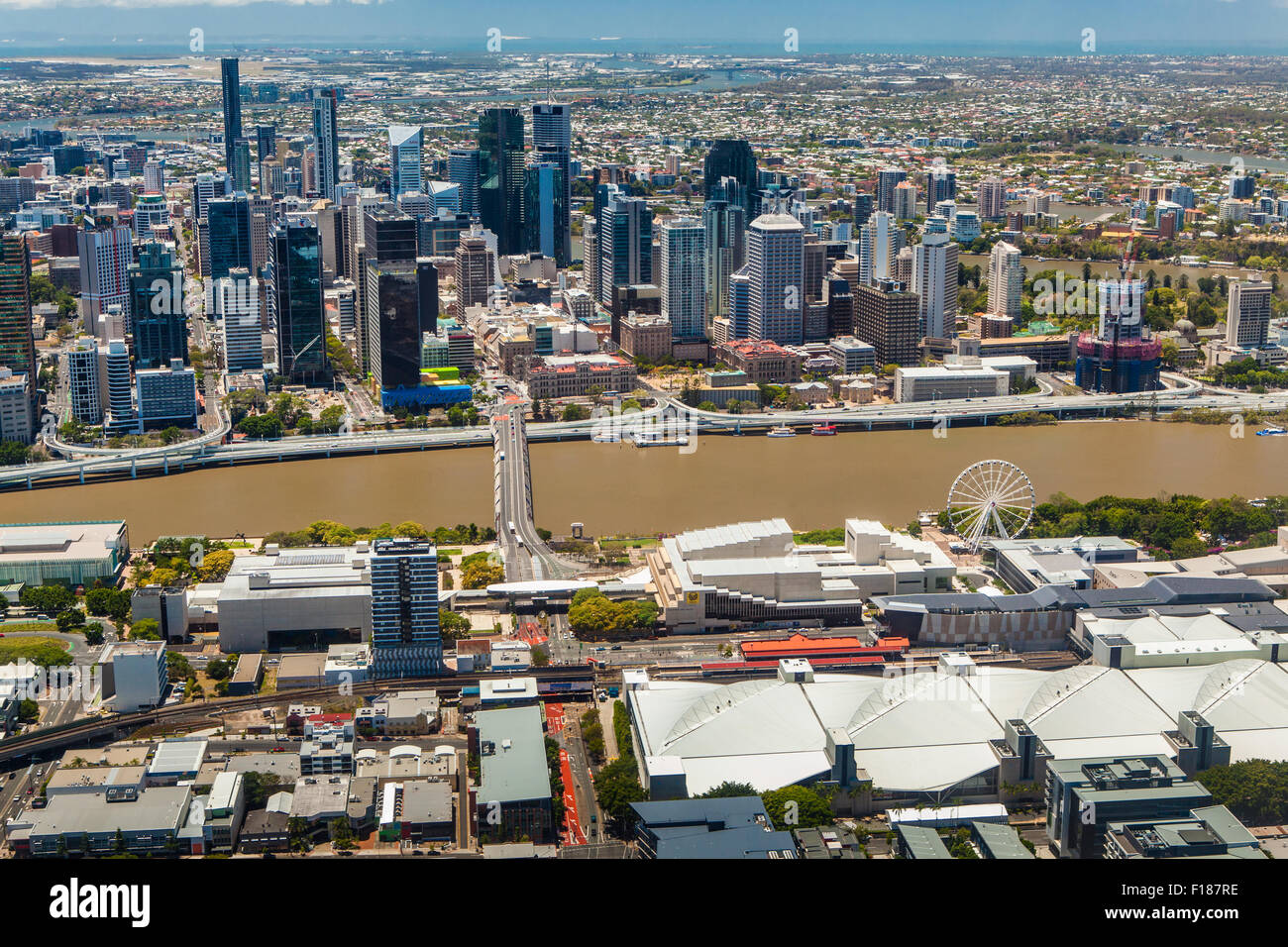BRISBANE, AUSTRALIA - NOVEMBER 11 2014: View of Brisbane from air over the river. Brisbane is the capital of QLD - Stock Image