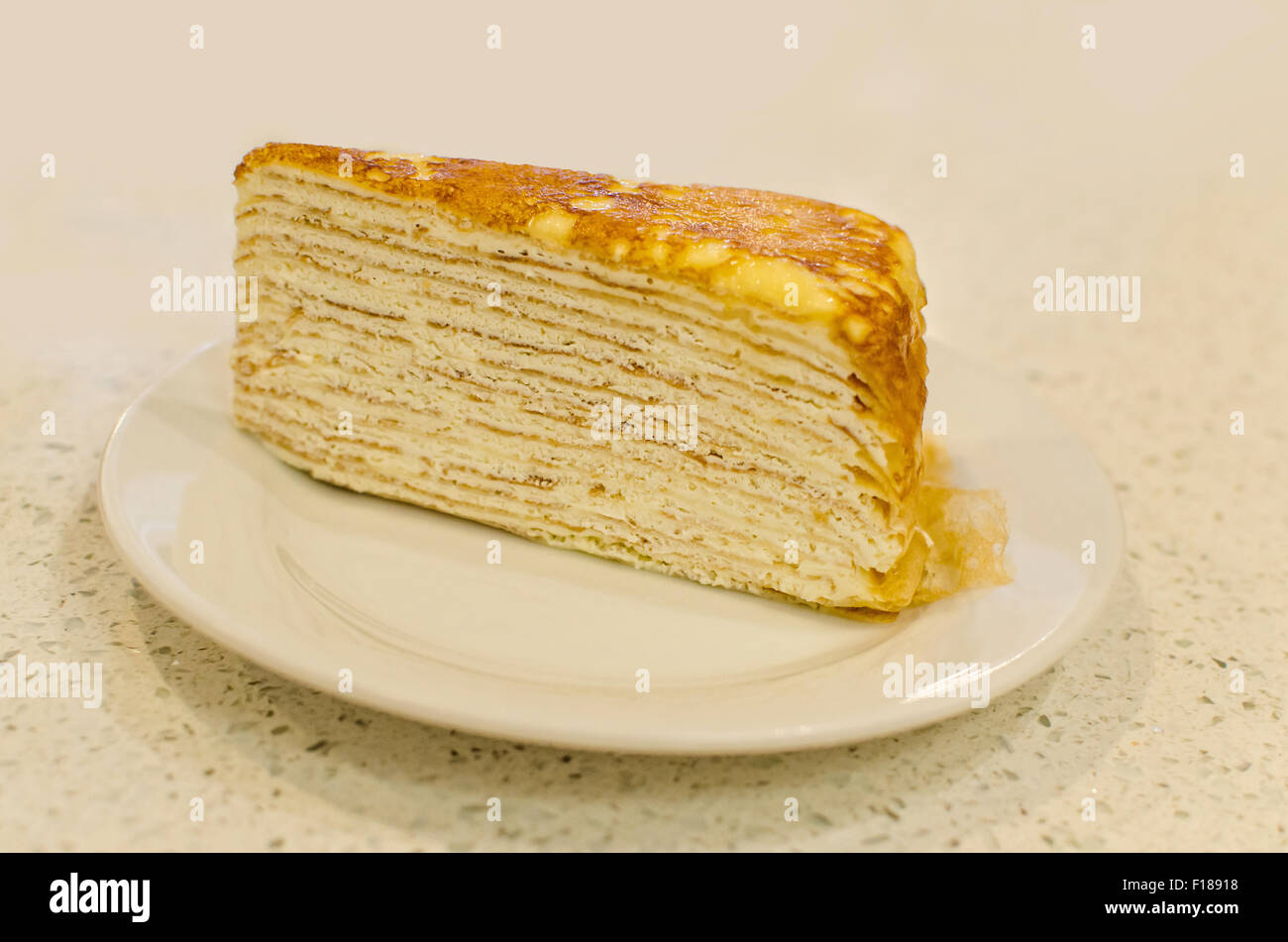 Thousand layers cake is a famous French cake in Malacca,Malaysia - Stock Image
