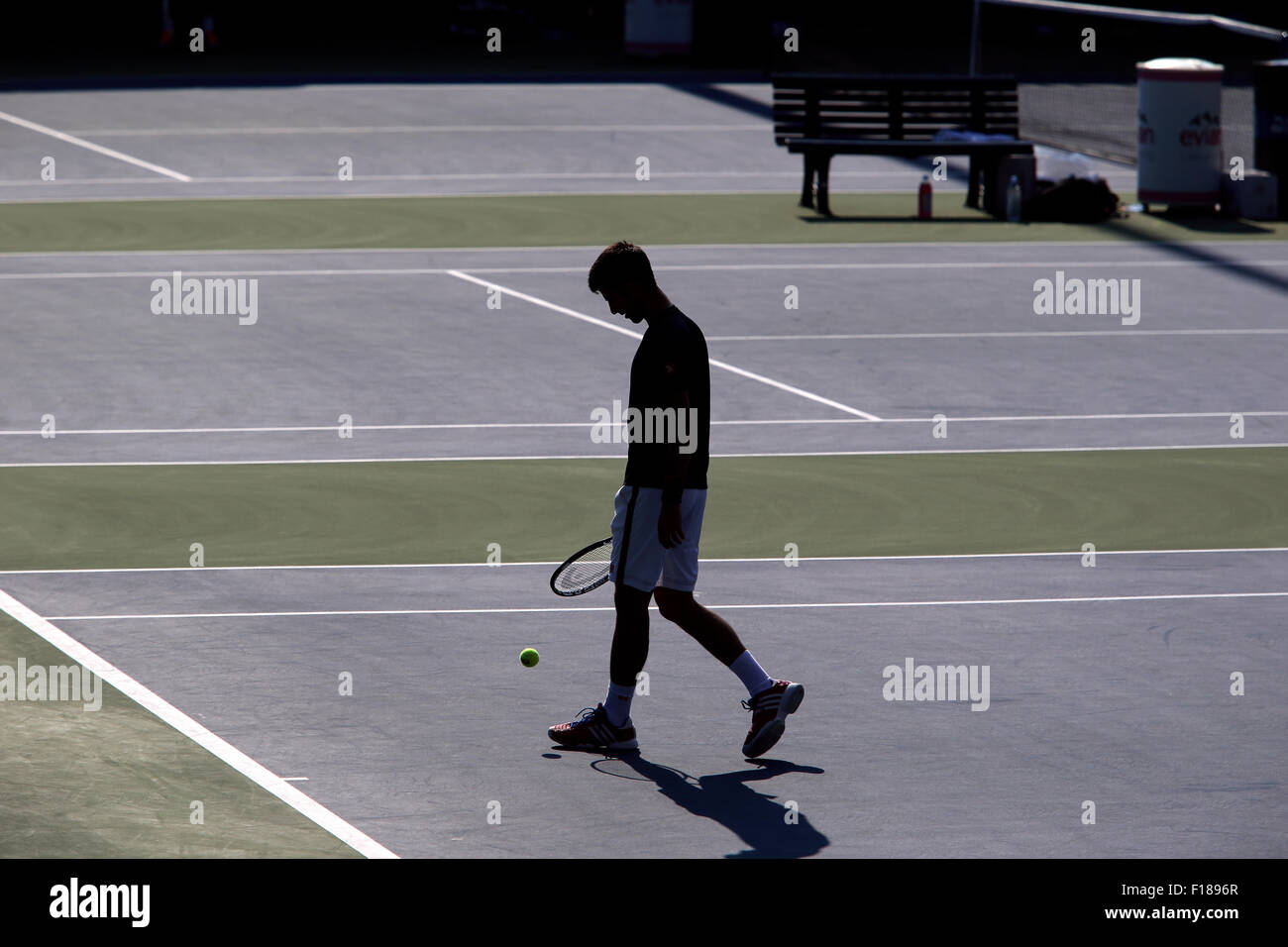 New York, USA. 29th Aug, 2015. Number One seed Novak Djokovic during a practice session at the Billie Jean King - Stock Image