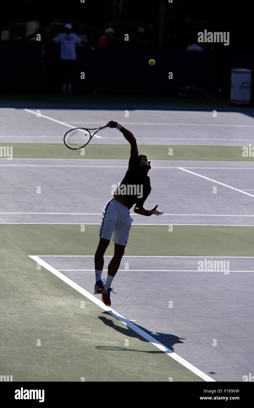 New York, USA. 29th Aug, 2015. Number One seed Novak Djokovic serves during a practice session at the Billie Jean - Stock Image