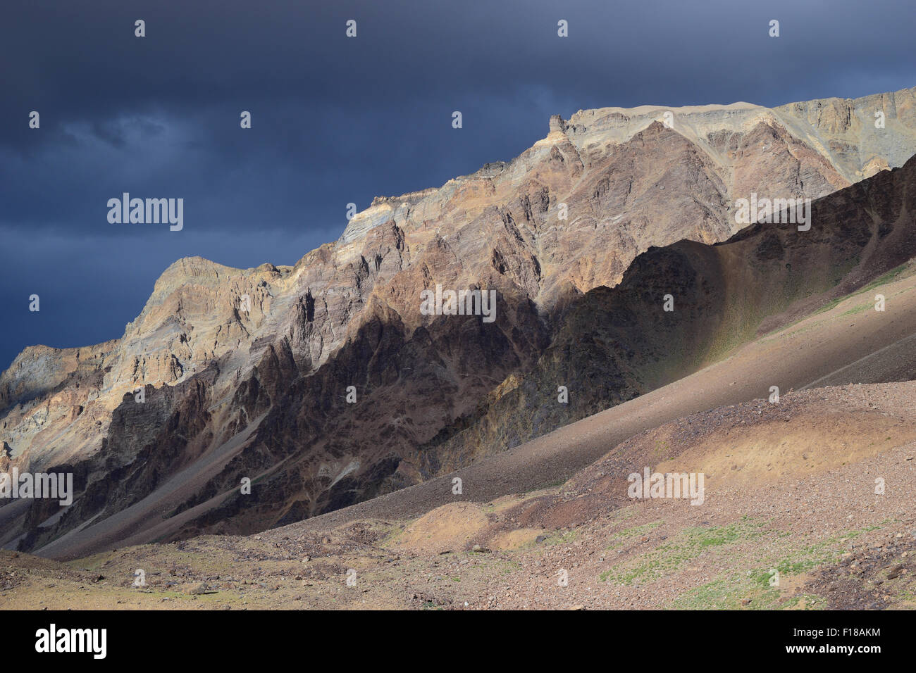 Ladakh India Himalayas Mountains in Dark and Light Combination typical Ladakh Kashmir Scenery - Stock Image