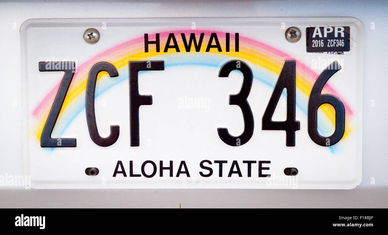A close-up of a Hawaii license plate. - Stock Image