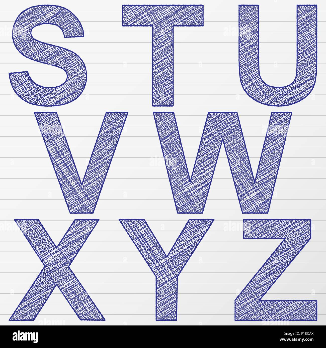 scratch letters from s to z vector illustration stock vector art