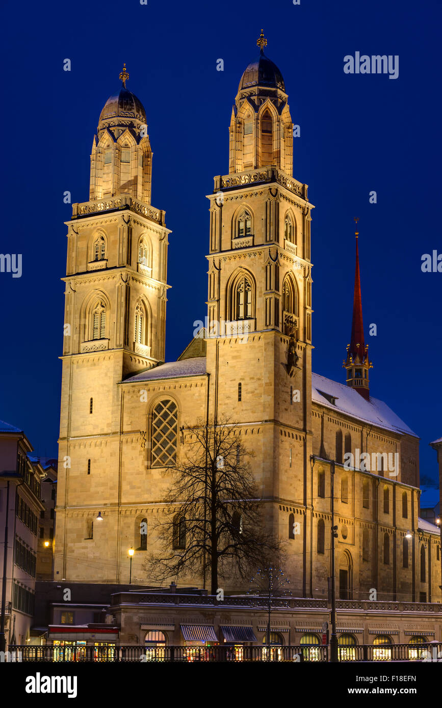 The famous Grossmunster church in Zurich at night - Stock Image
