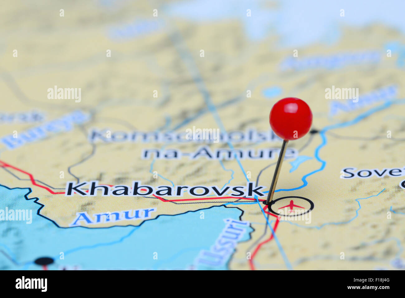Khabarovsk pinned on a map of Asia - Stock Image