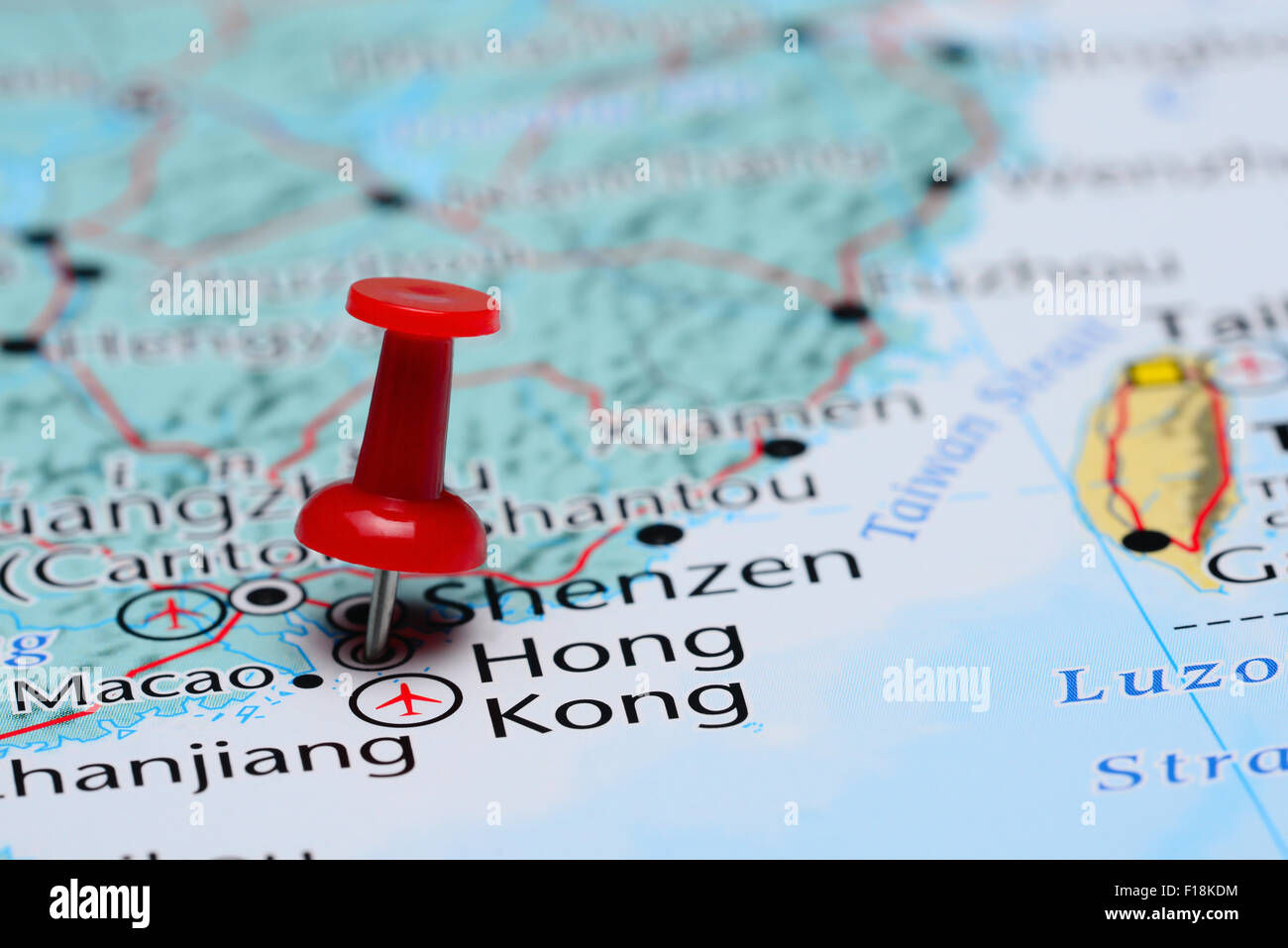 Map Of Asia Hong Kong.Hong Kong Pinned On A Map Of Asia Stock Photo 86857392 Alamy
