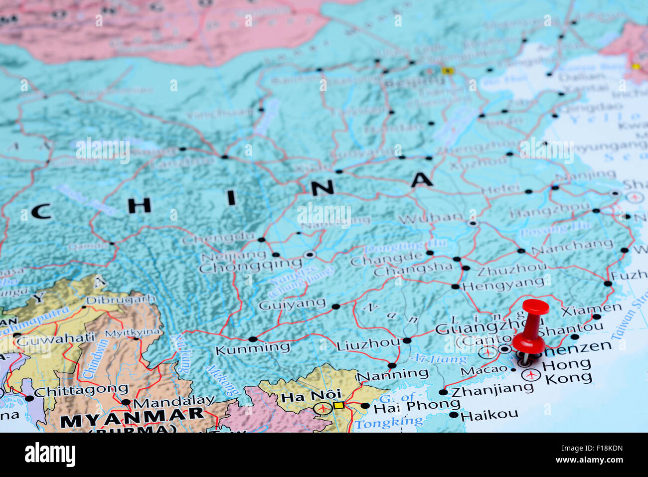 Map Of Asia Hong Kong.Hong Kong Pinned On A Map Of Asia Stock Photo 86857393 Alamy