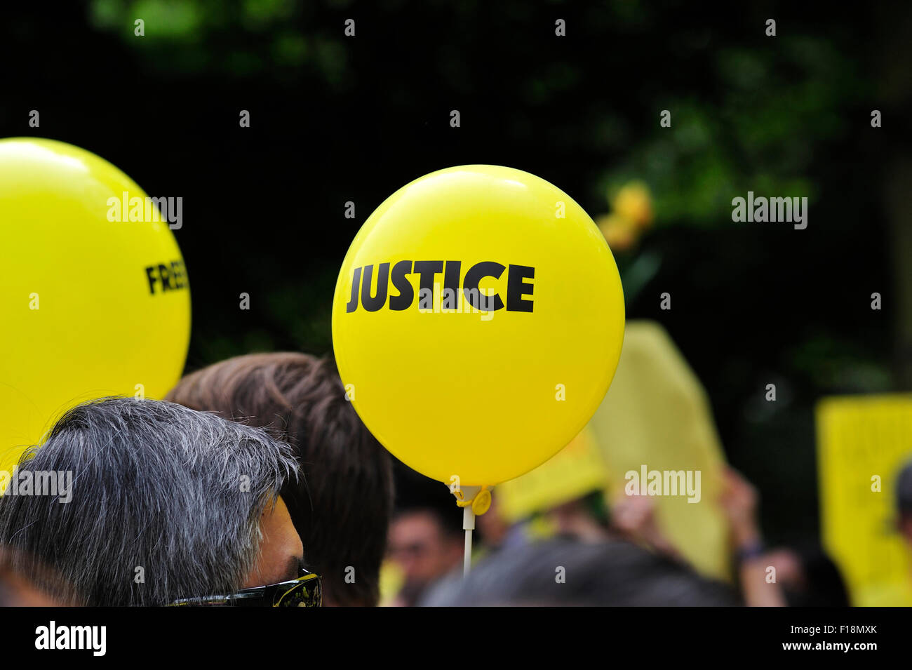 London, UK. 29th Aug, 2015. Malaysians held a rally in London, in line with similar rallies across the globe, to Stock Photo