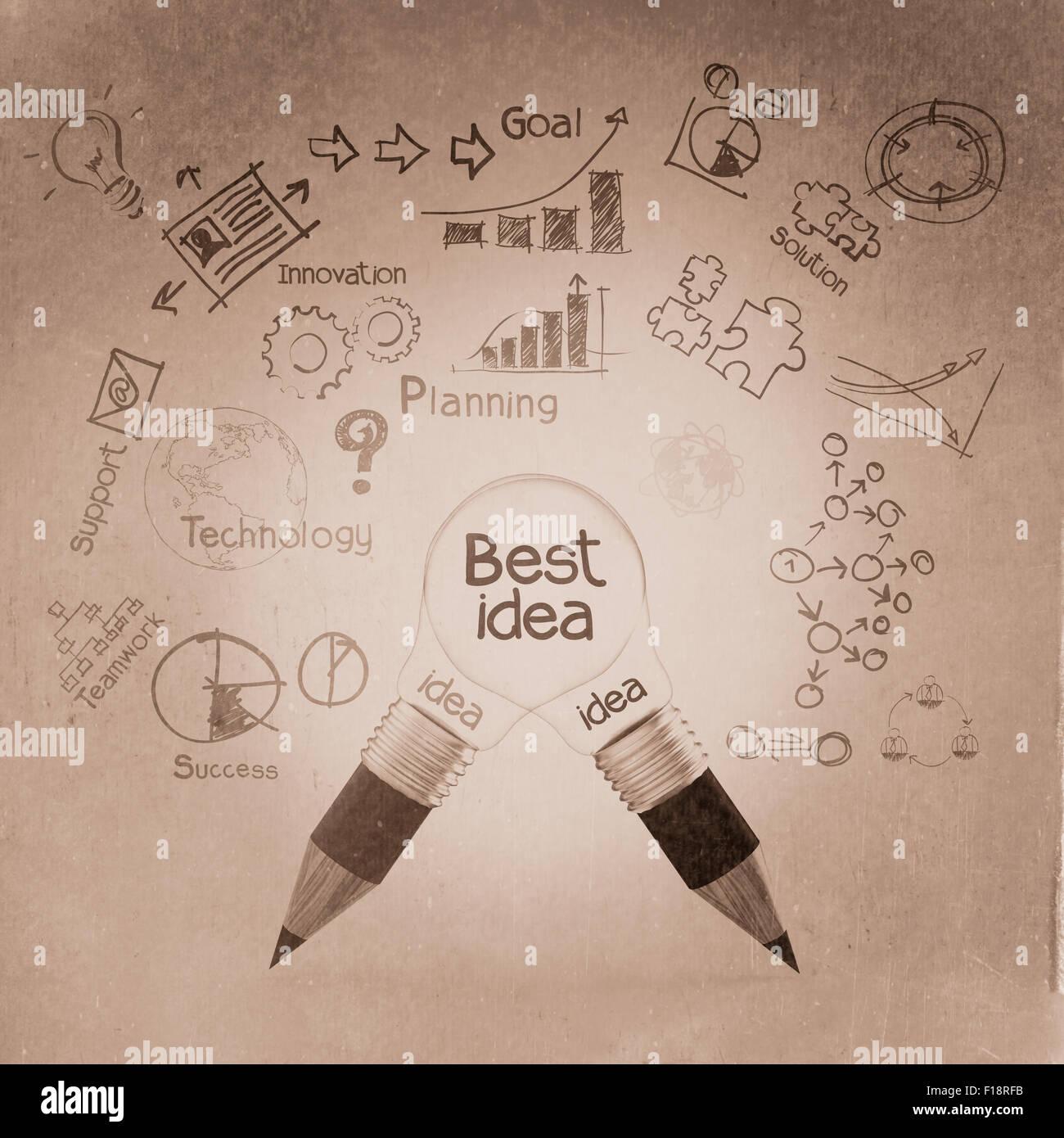 best idea concept creative 3d as vintage style concept - Stock Image