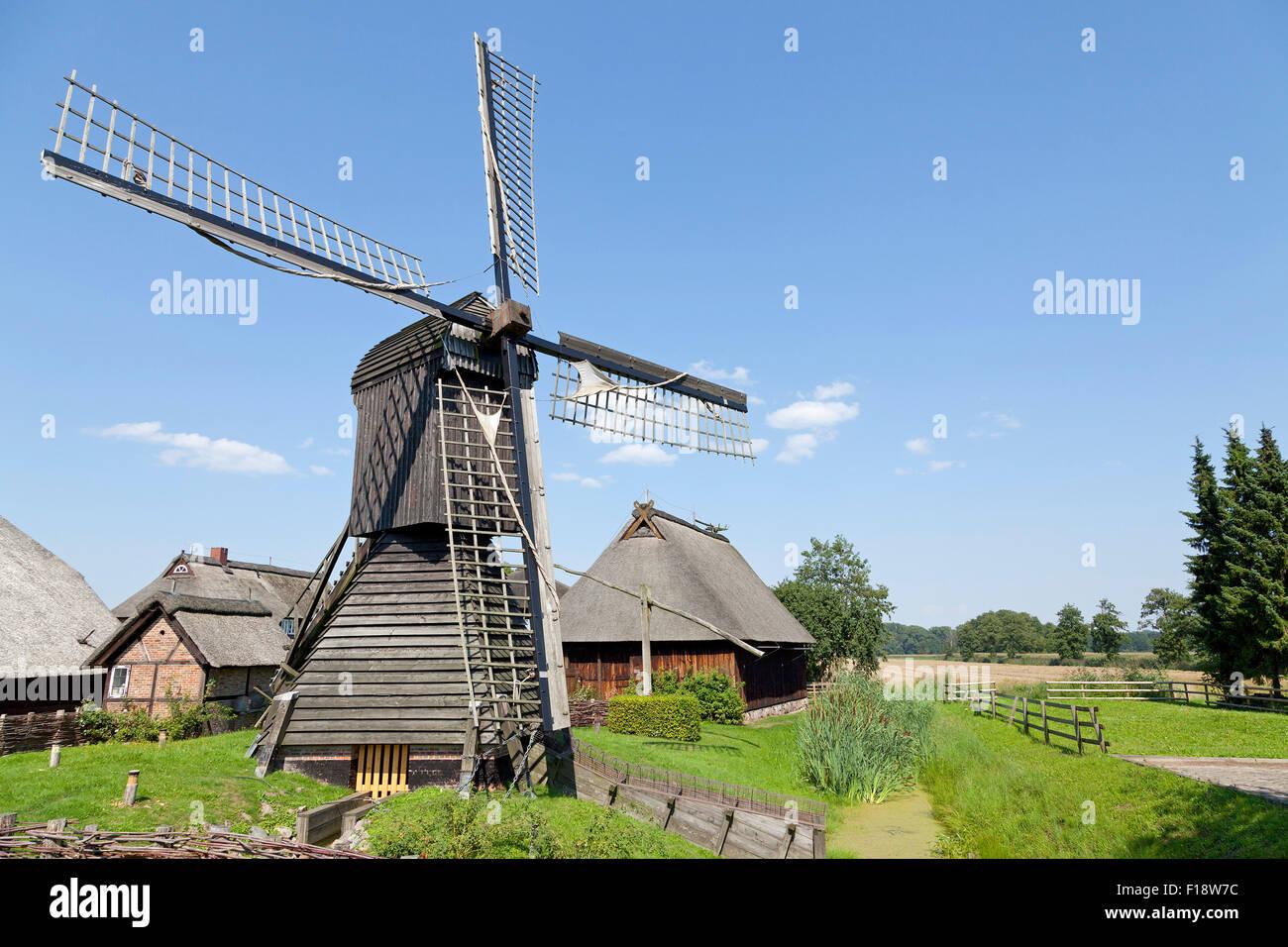 post mill, open air museum ´Rieck Haus´, Curslack, Vierlande, Hamburg, Germany Stock Photo