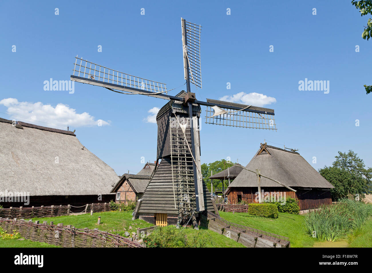 post mill, open air museum ´Rieck Haus´, Curslack, Vierlande, Hamburg, Germany Stock Photo