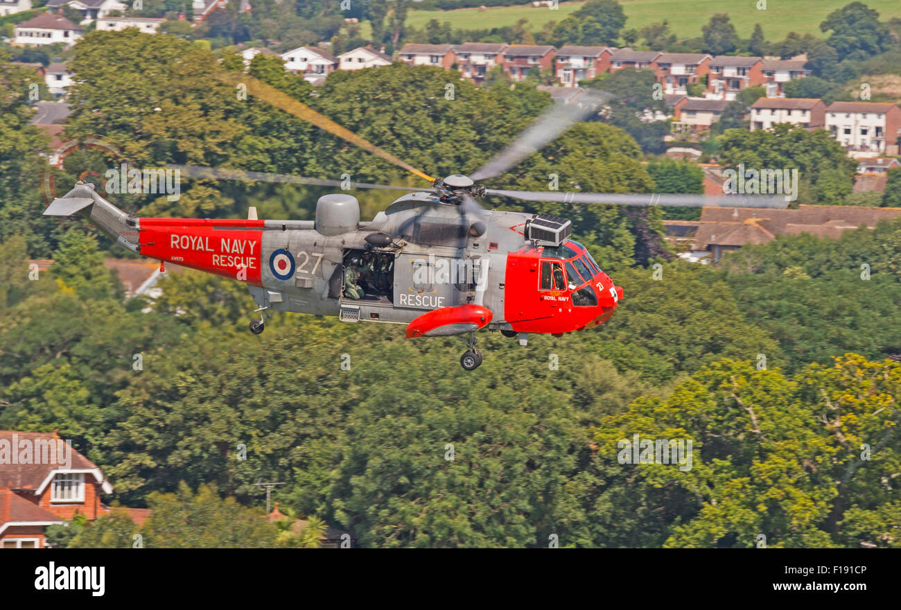 771 Squadron Sea King at Dawlish Air Show 2015 - Stock Image