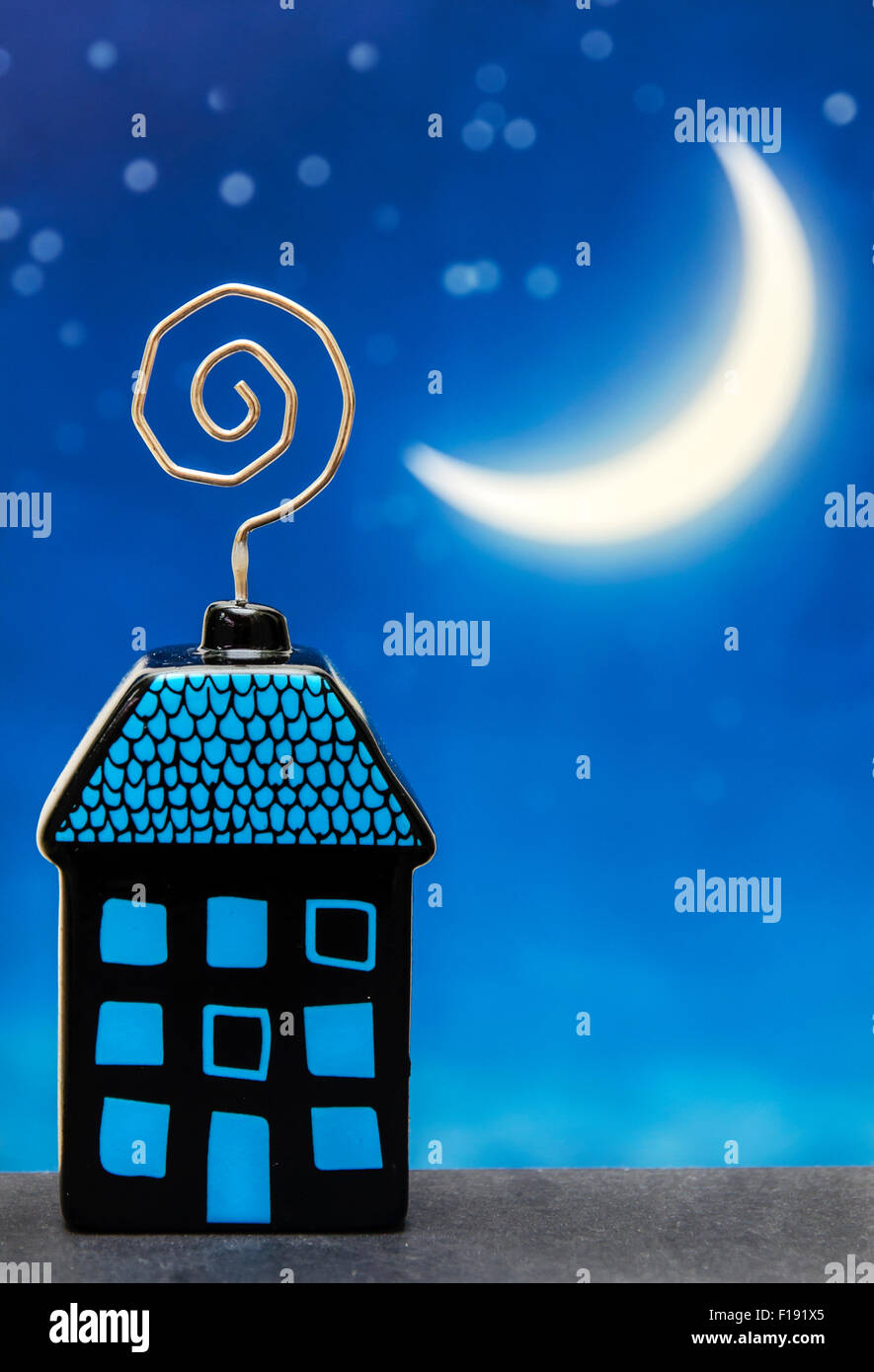 Cute Funny Dream Night House and Moon - Stock Image