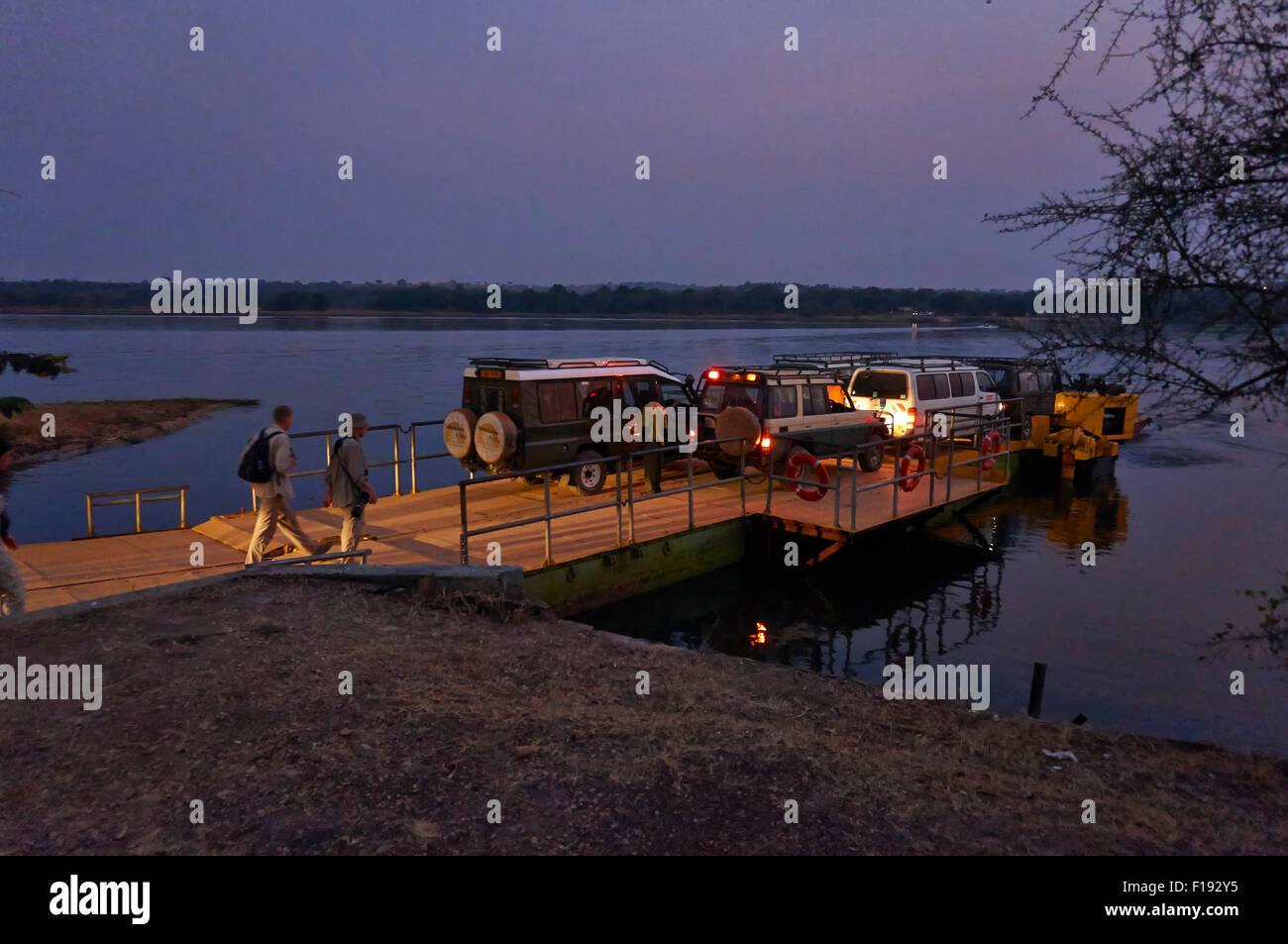 Car Ferry crossing river Nile,  Murchison Falls National Park, Uganda, Africa - Stock Image