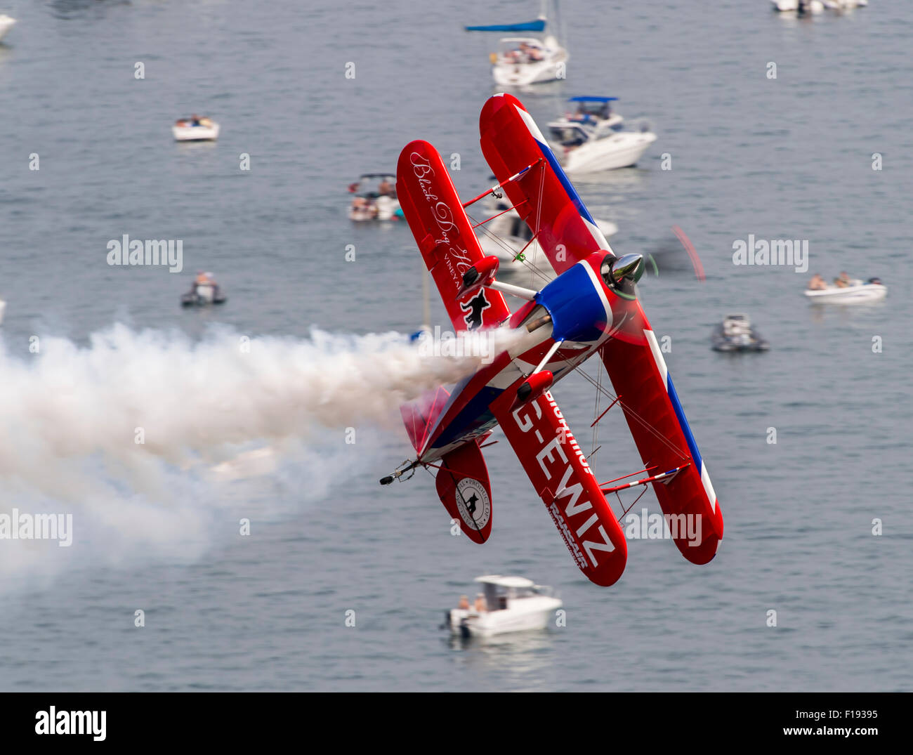 Rich Goodwin's Pitts S2S Muscle Biplane displaying at Dawlish Air Show - Stock Image