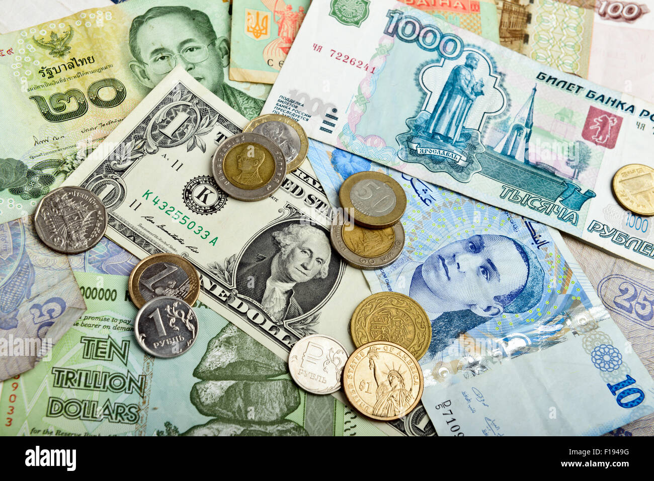Collection of various money to background - Stock Image