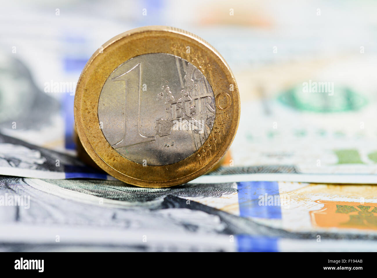 euro coin on money background - Stock Image